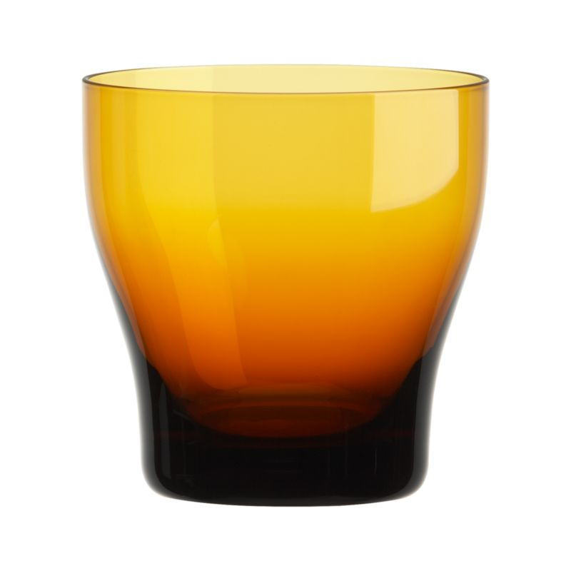 Conceived with the thought of friends and family coming together and enjoying good food, wine and conversation, our exclusive Welcome collection is informed by an encompassing multicultural mindset. Handcrafted barware features subtly contoured shapes that feel great in the hand, here in glowing amber with clear sham base. These pieces join our extended Welcome family of glazed stoneware dinner pieces, wood, glass and metal serving pieces, glassware and flatware in a tableau of beautifully contrasting color accented with warm metallics, colored glass and oxidized metals.<br /><br /><NEWTAG/><ul><li>Handcrafted clear and amber glass</li><li>Cut and polished rim</li><li>Designed by Aaron Probyn</li><li>Hand wash</li></ul>