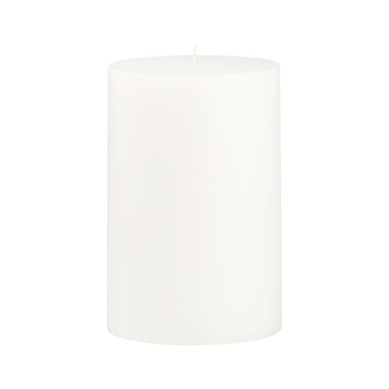 Stock up on the classic white pillar candle, in a variety of sizes.<br /><br /><NEWTAG/><ul><li>Paraffin wax</li><li>Cotton wick</li><li>Unscented</li><li>Burn time: 130 hours</li><li>Made in India</li></ul>