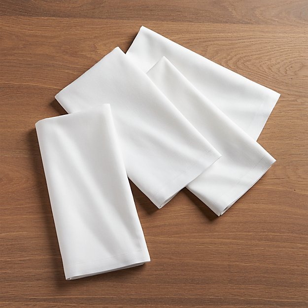 Set Of 4 White Dinner Napkins Crate And Barrel