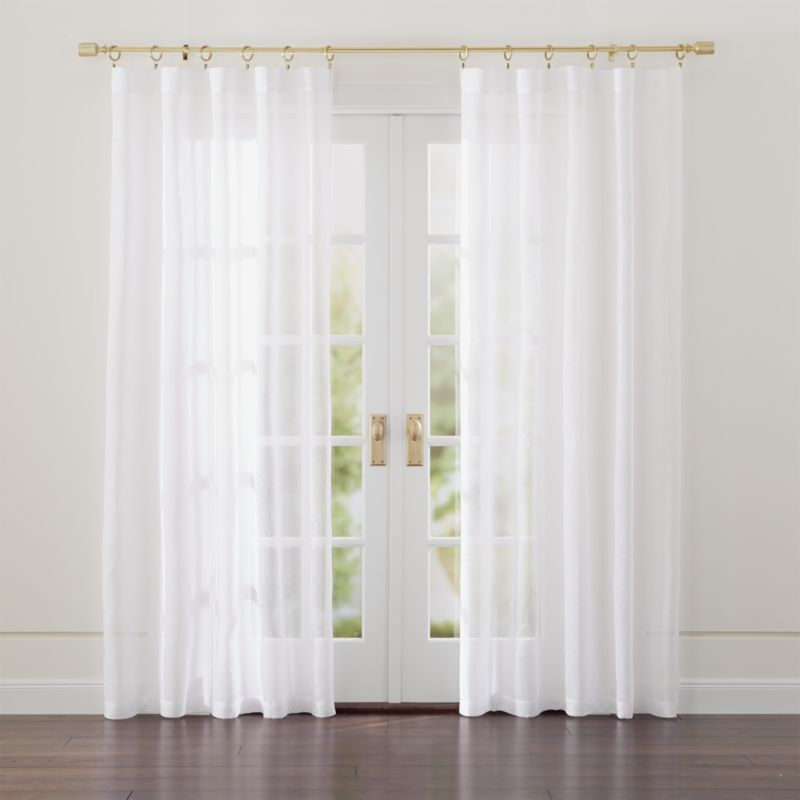 White bed drapes : Linen sheer white curtains crate and barrel