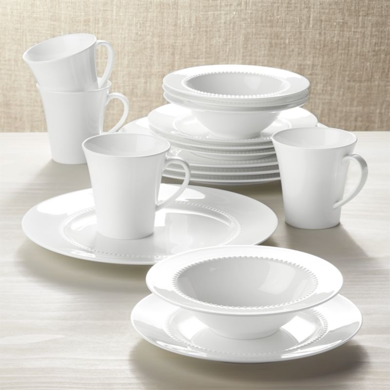White Pearl 16 Piece Dinnerware Set Crate And Barrel