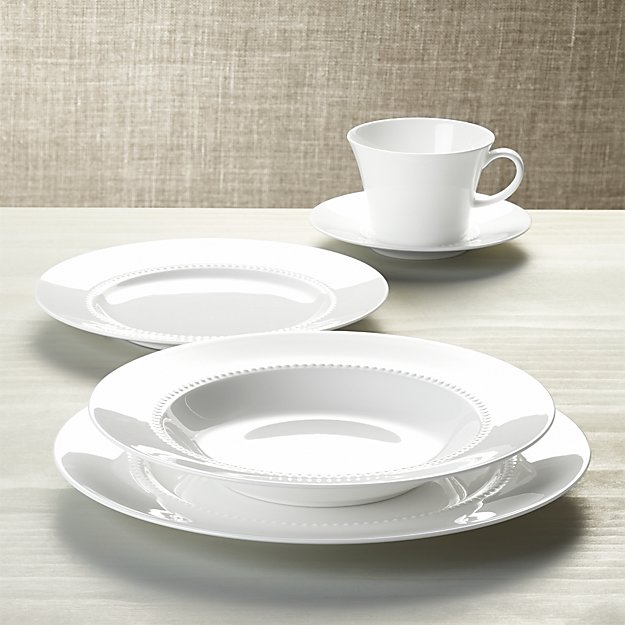 White pearl 5 piece place setting crate and barrel for Place setting images