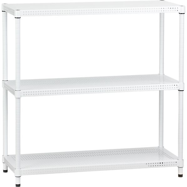 Perforated White Three-Shelf Unit