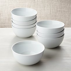 White Porcelain Cereal Bowls Set of 8