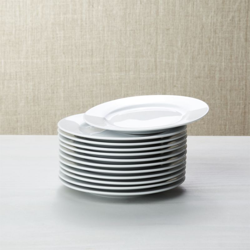 Set Of 12 White Porcelain Round Appetizer Plates Crate