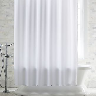White Shower Curtain Liner with Magnets