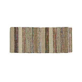 Wide Striped Grey Cotton 2.5'x6' Rag Rug Runner