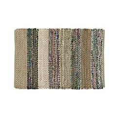 Wide Striped Grey Cotton 2'x3' Rag Rug