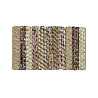 Wide Striped Grey Cotton Rag Rug