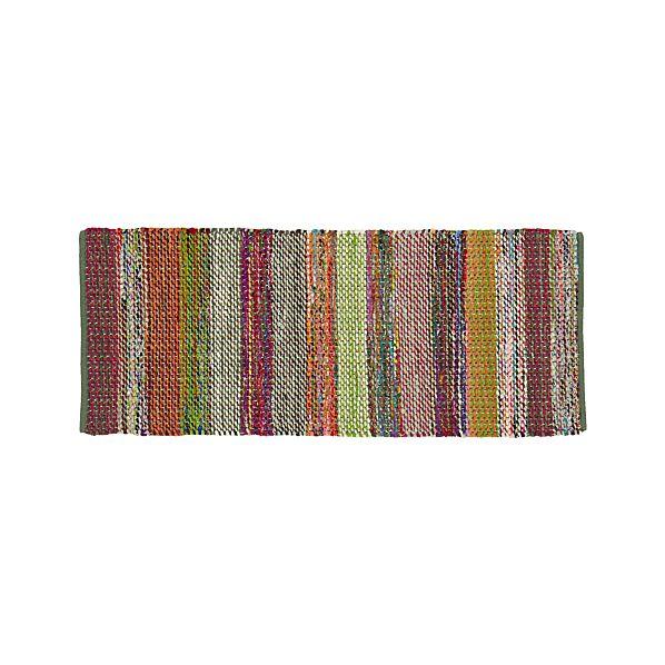 Wide Striped Multicolor Cotton 2.5'x6' Rag Rug Runner