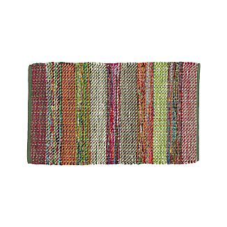 Wide Striped Multicolor Cotton Rag Rug