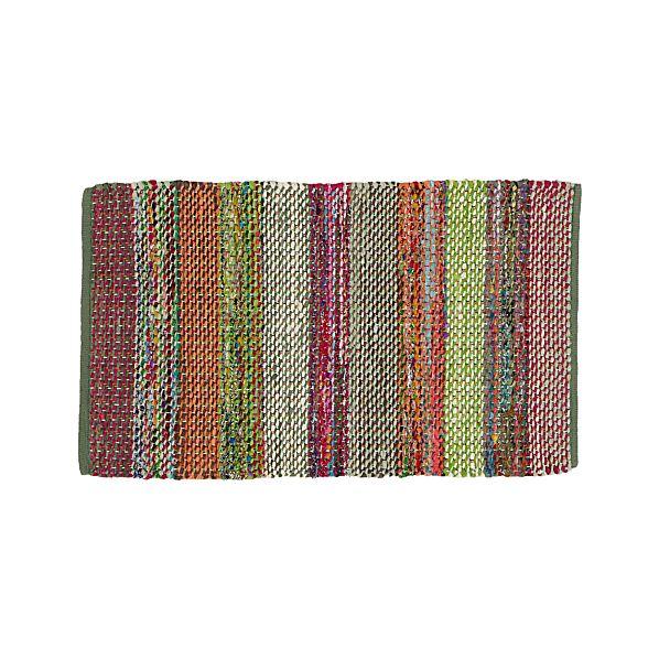 "Wide Striped Multicolor Cotton 30""x50"" Rag Rug"