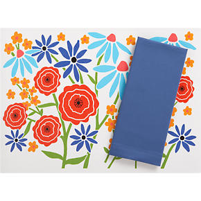 Wildflower Placemat and Cotton Marine Blue Napkin