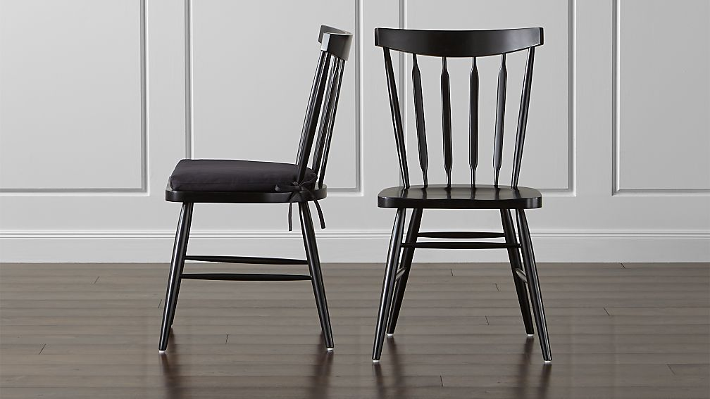Willa black wood dining chair and cushion crate and barrel