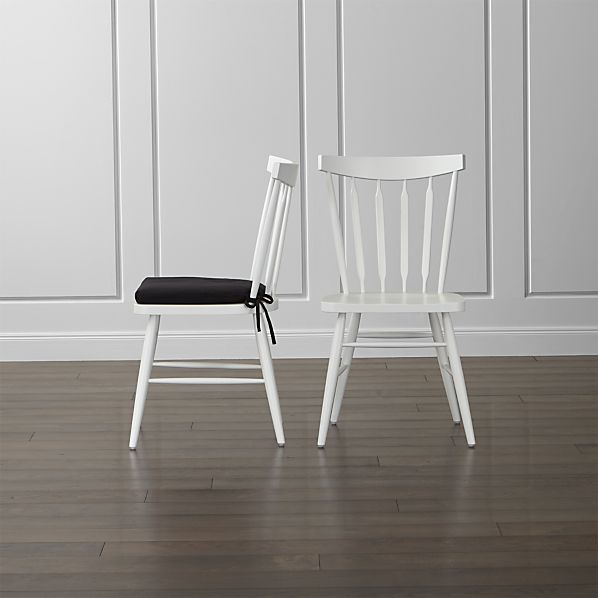 Willa White Wood Dining Chair and Cushion