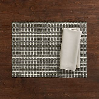 Chilewich ® Windowpane Grey Vinyl Placemat and Fete Dove Cotton Napkin
