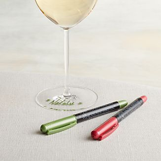 Holiday Color Wine Glass Writers Set of Two