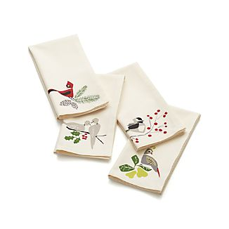 Set of 4 Winter Birds Napkins