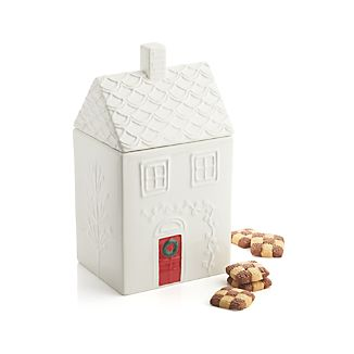 Winter Cottage Cookie Jar
