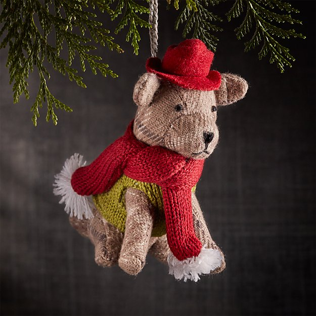 Winter Pup with Green Sweater Ornament