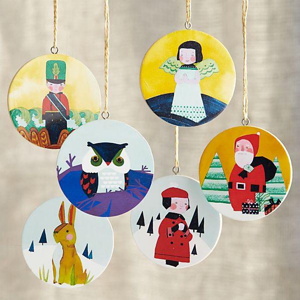 Set of 6 Winter Scene Disc Ornaments