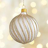 Winter White Champagne Glitter Ribbon Ball Ornament