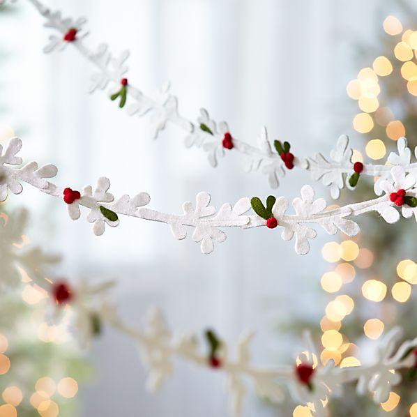 Winter White Felt Mistletoe Garland