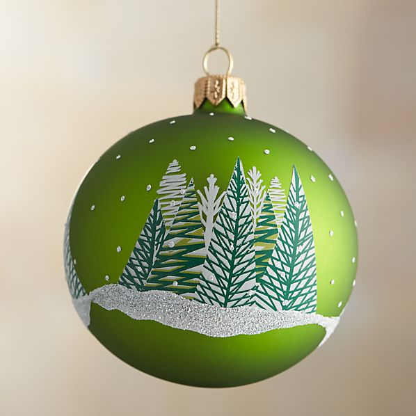 Green Wintery Forest Ball Ornament