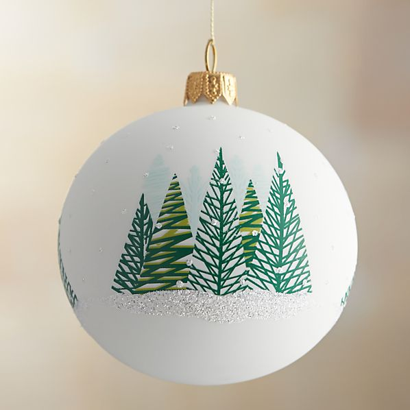 White Wintery Forest Ball Ornament