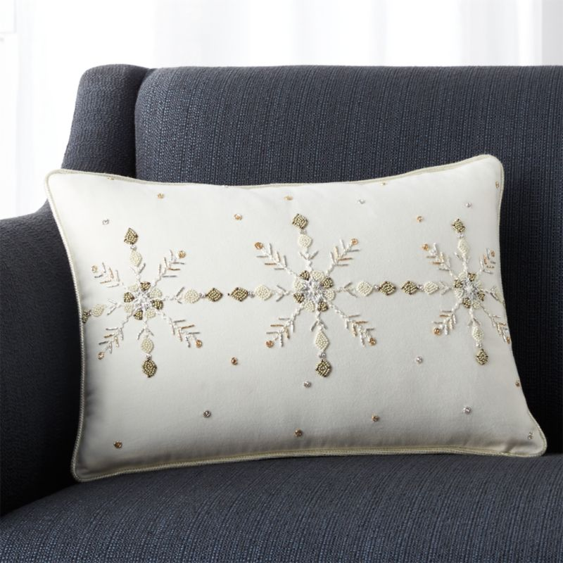 "Wintry 18""x12"" Pillow with Feather-Down Insert"