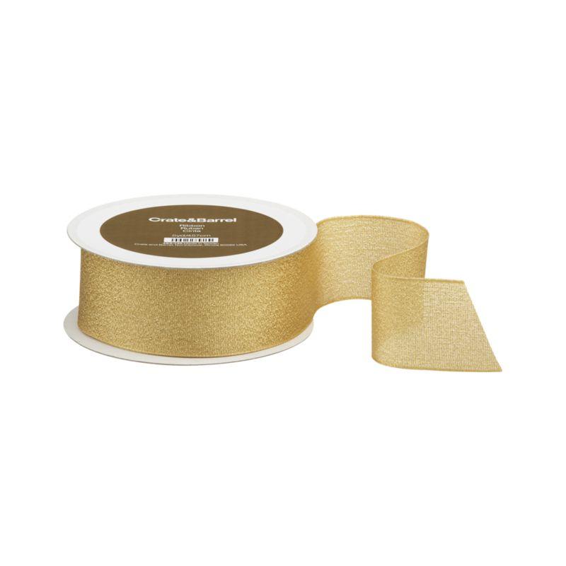 Gold taffeta ribbon sparkles festive shimmer. Wired edges craft shapely bows that hold their own.<br /><br /><NEWTAG/><ul><li>Polyester taffeta</li><li>Wired edges</li></ul><br />
