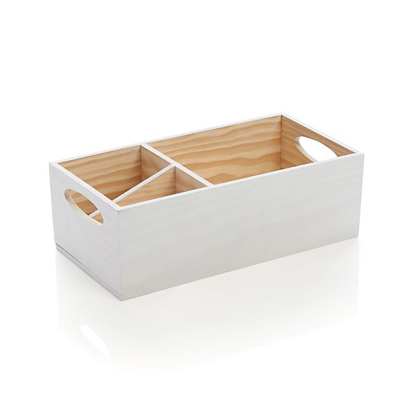 White Wood Flatware Caddy