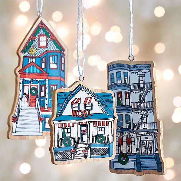 Set of 3 Wood-Cut Neighborhood Ornaments