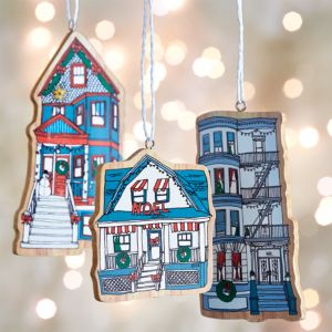 Set of 3 Wood-Cut Neighborhood Ornaments