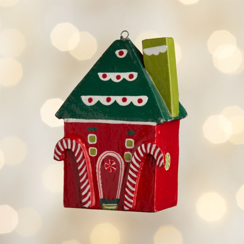 Gingerbread House with Green Roof Wood Ornament