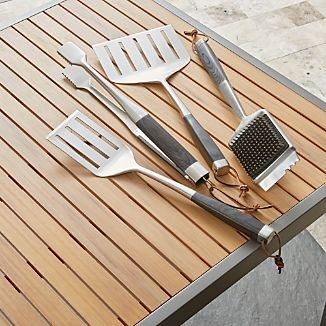 Wood Handled Grill Tools Set Of Four
