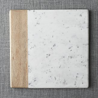 Wood-Marble Square Platter