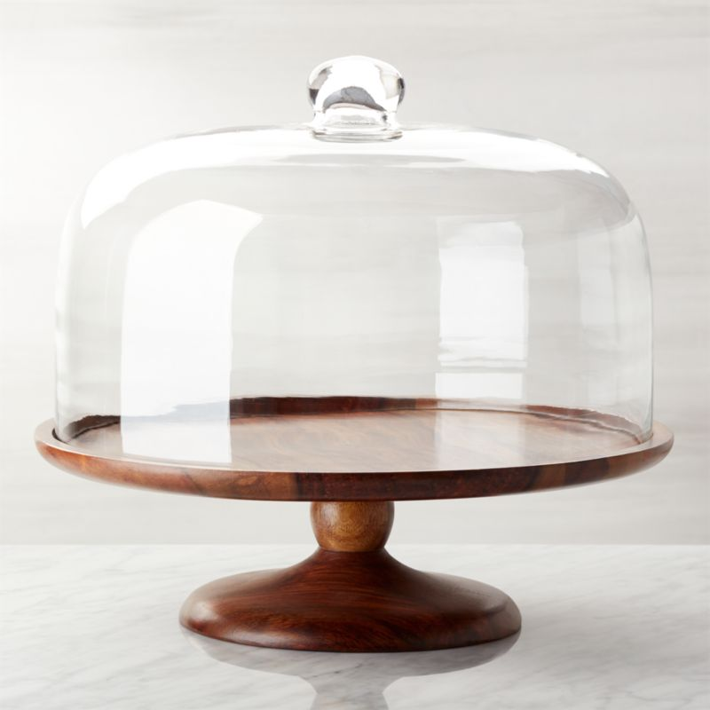 Wood Pedestal Server With Dome Crate And Barrel