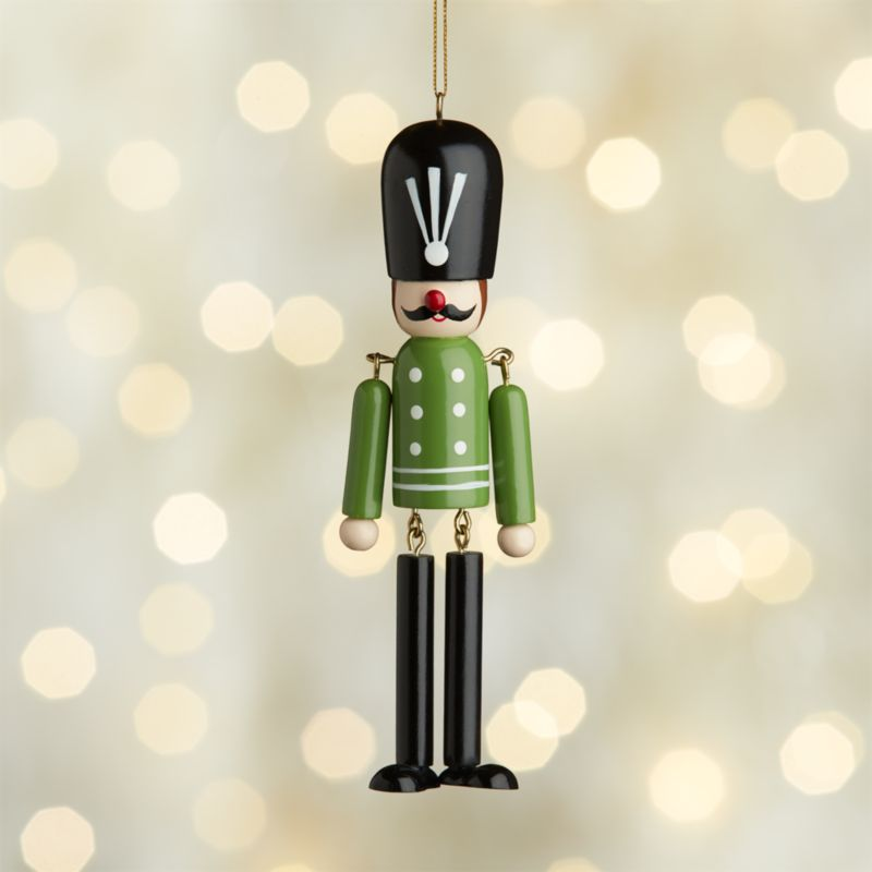 Dangle Legs Wood Soldier Ornament with Green Jacket