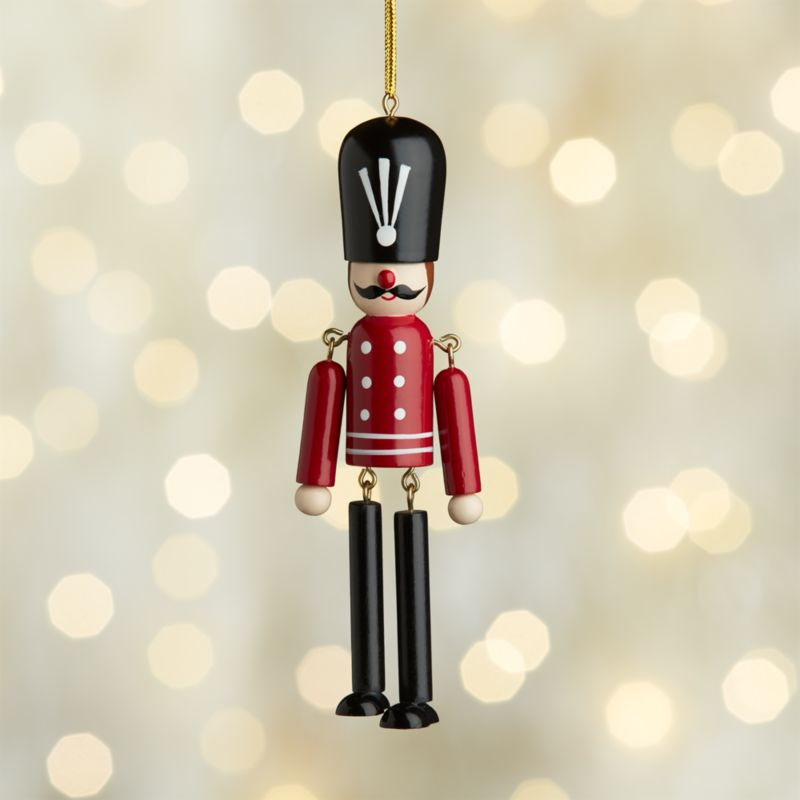 Dangle Legs Wood Soldier Ornament with Red Jacket