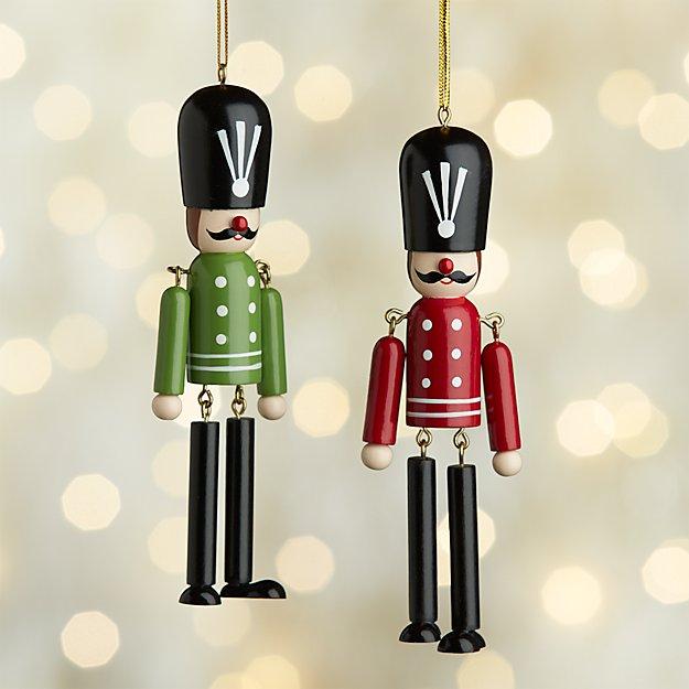 Dangle Legs Wood Soldier Ornaments