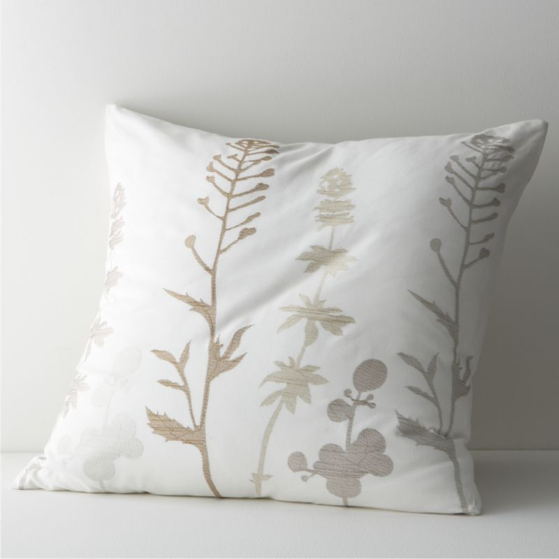 Woodland plants blanket cotton-linen fabric in a forest of embroidered silhouettes, taking shape in a range of soft neutrals on ivory. All linens reverse to solid ivory. Bed pillows also available.<br /><br /><NEWTAG/><ul><li>88% cotton and 12% linen</li><li>100% rayon embroidery</li><li>Machine wash cold, tumble dry low</li><li>Made in India</li></ul>