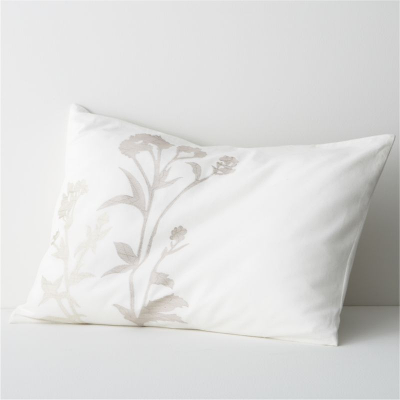 Woodland plants blanket cotton-linen fabric in a forest of embroidered silhouettes, taking shape in a range of soft neutrals on ivory. Offered in sets of two. All linens reverse to solid ivory. Bed pillows also available.<br /><br /><NEWTAG/><ul><li>88% cotton and 12% linen</li><li>100% rayon embroidery</li><li>Machine wash cold, tumble dry low</li><li>Made in India</li></ul>