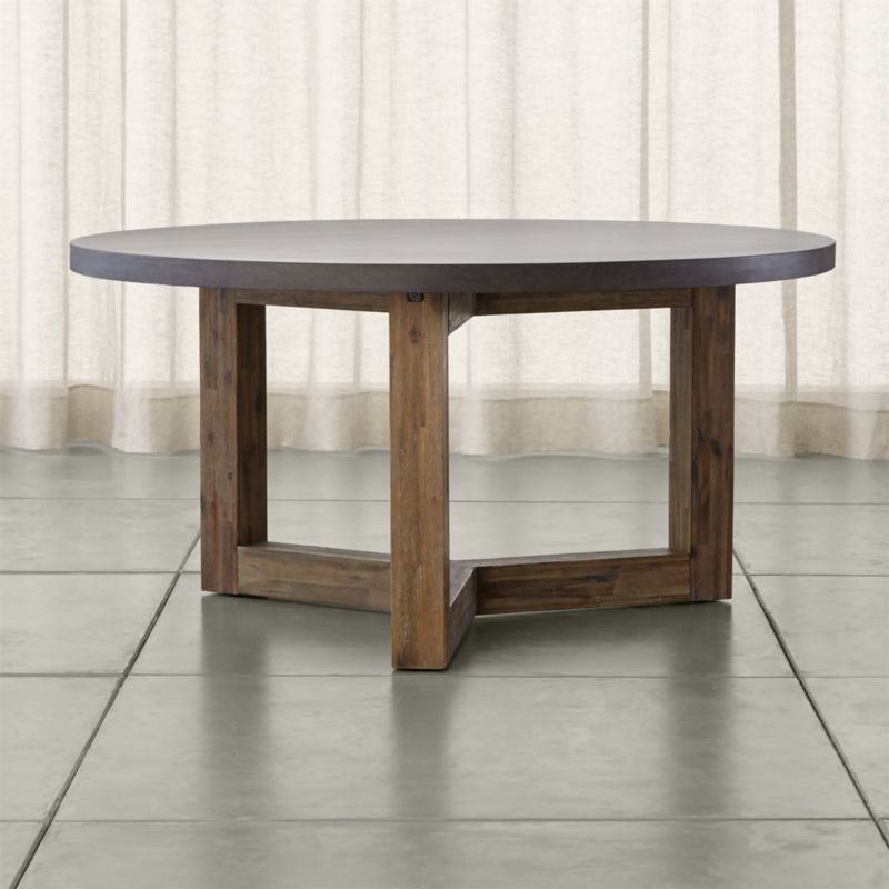 Woodward Round Dining Table With Solid Wood Base Crate