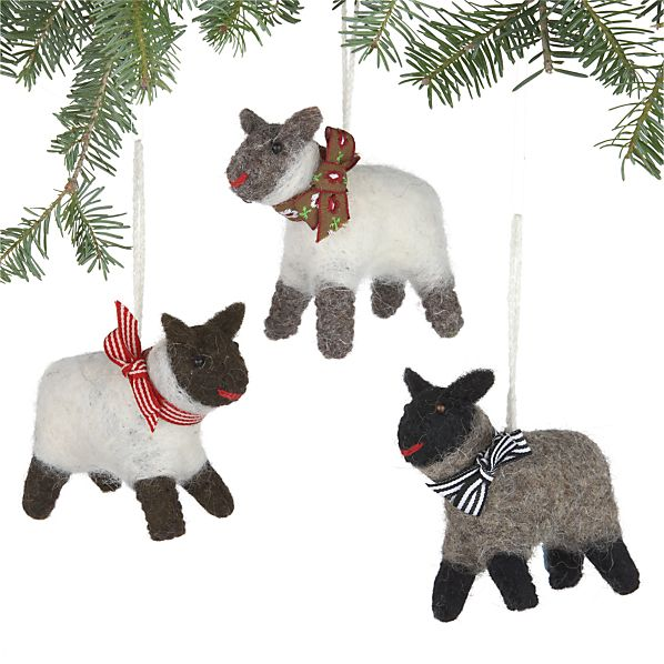 Set of 3 Wooly Sheep Ornaments