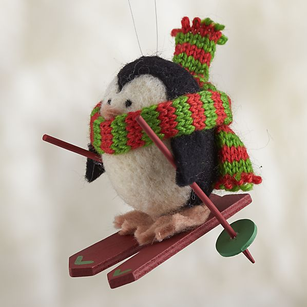Wooly Winter Sport Penguin Skiing Ornament