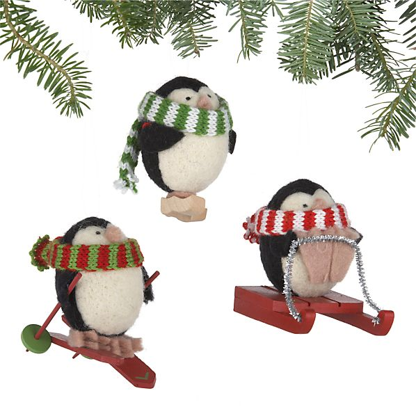 Set of 3 Wooly Winter Sport Penguin Ornaments