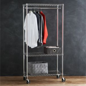 Supreme Adjustable Rolling Shoe Rack in Closet | Crate and Barrel