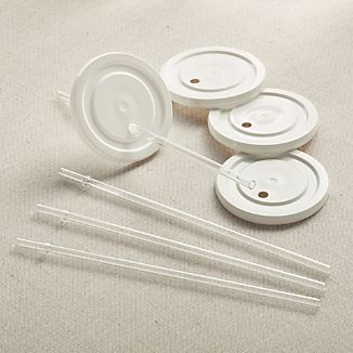 Set of 4 Working Glass Lids with Straws