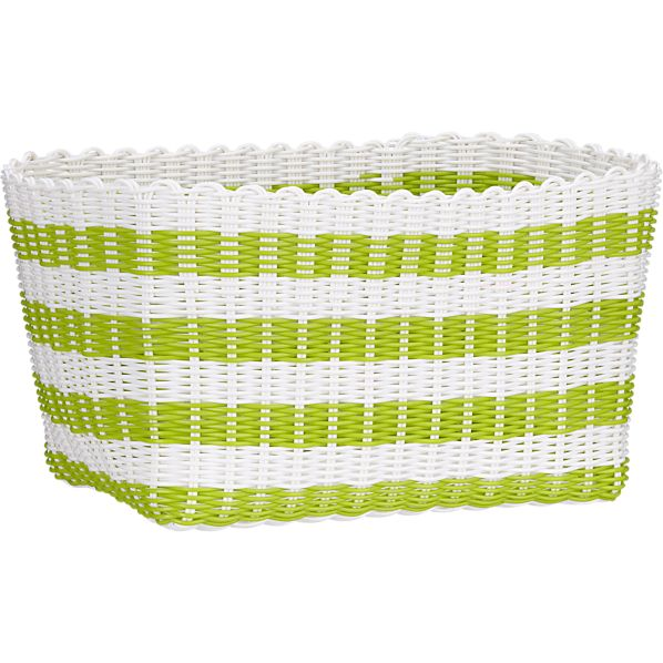 Woven Green and White Bin